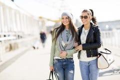 Donne che camminano sulla via Immagine Stock