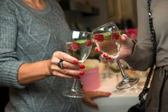 Donne che celebrano champagne bevente di giorno del ` s del nuovo anno e di Natale Acclamazioni! Immagine Stock