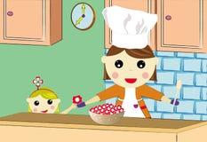 Donne che cucinano per la sua figlia Fotografia Stock Libera da Diritti