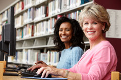 Donne che lavorano ai computer in biblioteca Immagini Stock Libere da Diritti
