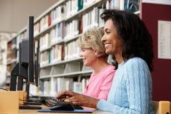 Donne che lavorano ai computer in biblioteca Fotografie Stock Libere da Diritti