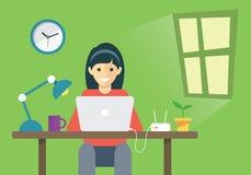 Donne che lavorano con il computer portatile nella stanza Illustrazione Vettoriale