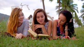 Donne che mettono su insieme il libro di lettura dell'erba durante il picnic nella campagna video d archivio