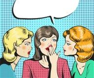 Donne che parlano la retro illustrazione comica di sussurro di stile di Pop art Fotografie Stock