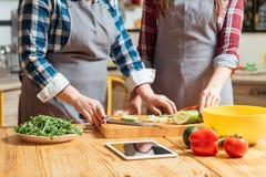 Donne che preparano essere a dieta equilibrato del pasto di ricetta dell'insalata immagine stock libera da diritti