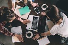 Donne che studiano con i libri ed il computer portatile Immagine Stock
