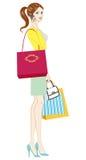 Donne che tengono i sacchetti della spesa illustrazione di stock