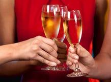 Donne che tengono i vetri del champagne immagini stock libere da diritti