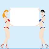 Donne che tengono scheda bianca illustrazione vettoriale