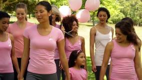 Donne che vanno su una passeggiata per consapevolezza del cancro al seno nel parco archivi video