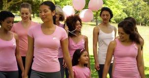 Donne che vanno su una passeggiata per consapevolezza del cancro al seno nel parco stock footage