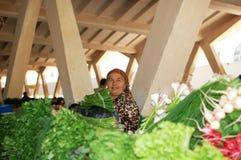 Donne che vendono le verdure nel servizio Immagine Stock