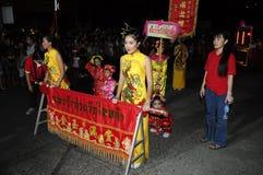 Donne cinesi uniformi durante il nuovo anno cinese Fotografia Stock Libera da Diritti