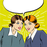 Donne comiche di affari di Pop art del fumetto che hanno una conversazione royalty illustrazione gratis