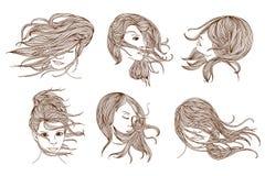 Donne con capelli lunghi Fotografia Stock Libera da Diritti