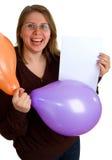 Donne con gli aerostati ed il foglio di carta Fotografie Stock