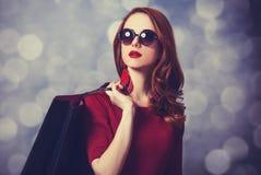 Donne con il sacchetto della spesa Fotografie Stock Libere da Diritti