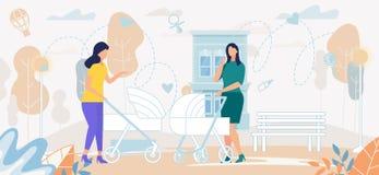 Donne con la conversazione dei passeggiatori di bambino sulla via royalty illustrazione gratis