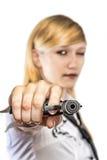 Donne con la rivoltella Fotografie Stock Libere da Diritti