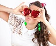 Donne con le labbra sexy per il bacio del biglietto di S. Valentino del san Immagini Stock