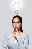 Donne con un'idea luminosa Immagine Stock