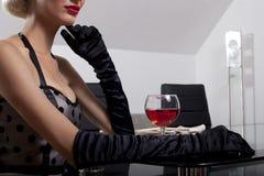 Donne con vino Fotografia Stock