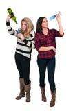 Donne con vino Fotografia Stock Libera da Diritti