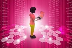 donne 3d che mostrano computer portatile Fotografie Stock