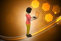 donne 3d che mostrano computer portatile Fotografie Stock Libere da Diritti