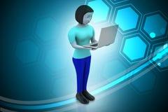 donne 3d che mostrano computer portatile Immagine Stock