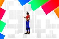 donne 3d che tengono l'illustrazione della bandiera Immagine Stock Libera da Diritti