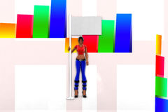 donne 3d che tengono l'illustrazione della bandiera Fotografia Stock Libera da Diritti