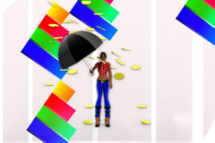 donne 3d che tengono la pioggia della moneta di oro e dell'ombrello Fotografia Stock Libera da Diritti