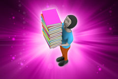 donne 3d che tengono libro, concetto di istruzione Immagine Stock