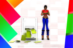 donne 3d ed illustrazione dell'ufficio della cartella Immagini Stock