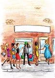 Donne davanti al negozio o al salone illustrazione di stock