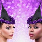 Donne del costume della strega di Halloween fotografia stock libera da diritti