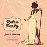 Donne del fumetto nella retro musica di jazz di canto di stile Fotografia Stock