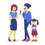 Donne del gelato e ragazza del bambino illustrazione vettoriale
