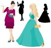 Donne del partito nel vettore del vestito Fotografia Stock