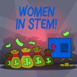 Donne del testo di scrittura di parola in gambo Concetto di affari per lo scienziato Research di matematica di ingegneria di tecn illustrazione vettoriale