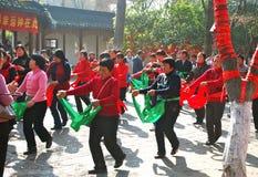Donne del villaggio che effettuano Suizhou Fotografia Stock