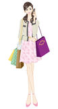 Donne di acquisto, modo femminile illustrazione di stock