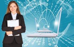 Donne di affari con i computer portatili Fotografie Stock
