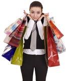 Donne di affari con il gruppo di acquisto del sacchetto. Immagini Stock