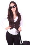 Donne di affari con il sacchetto di corsa fotografie stock
