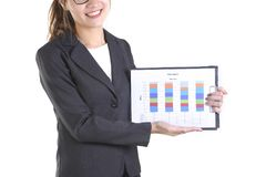 Donne di affari in vestito che tiene cartella nera con lavoro di ufficio su fondo bianco puro Fotografia Stock Libera da Diritti