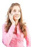Donne di bellezza con il mobile del blask. Fotografia Stock