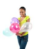 Donne di colore con gli aerostati Fotografie Stock