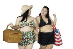 Donne di peso eccessivo che camminano con gli oggetti di picnic Immagini Stock Libere da Diritti